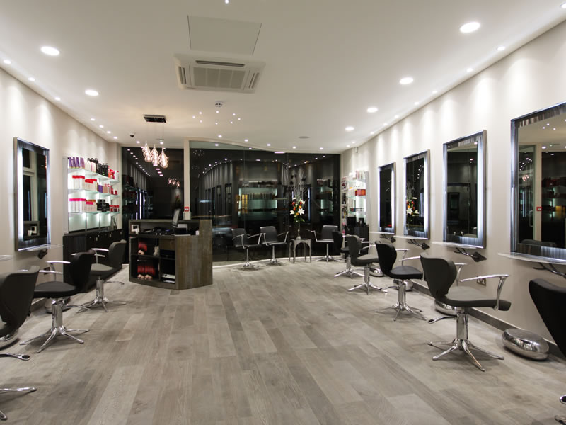 Our completed hair salon interior