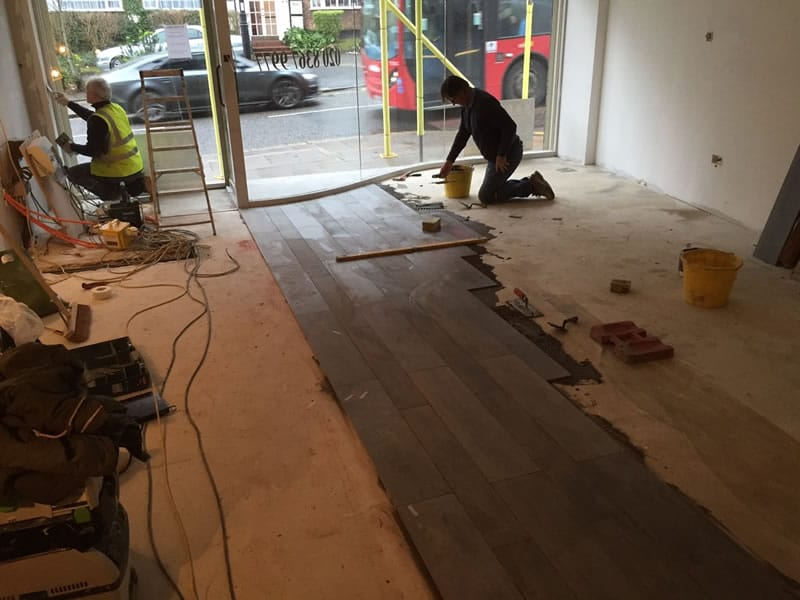 Salon floor being installed