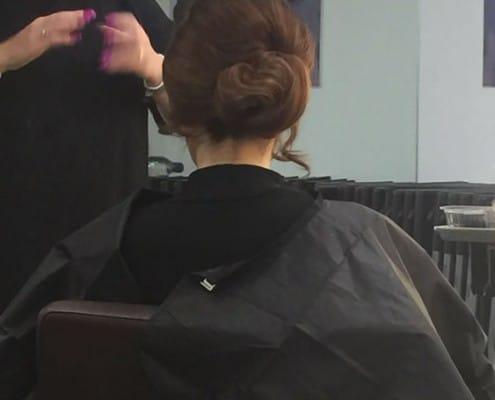 A chignon hair style