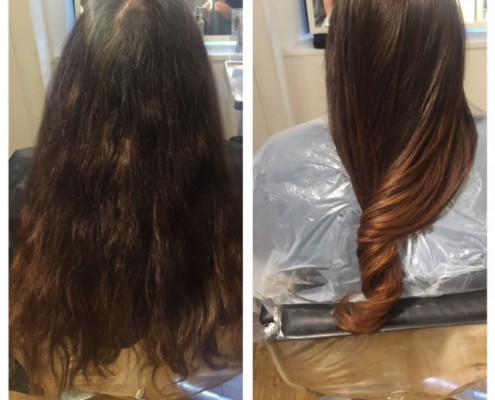 Before and after balayage highlight hair