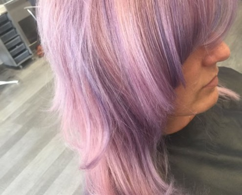 Summer rainbow hair colouring