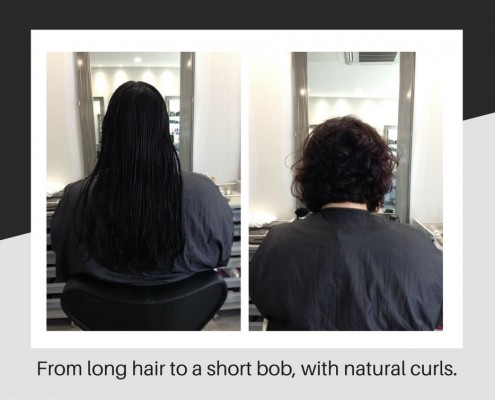 Long hair to bob with curls