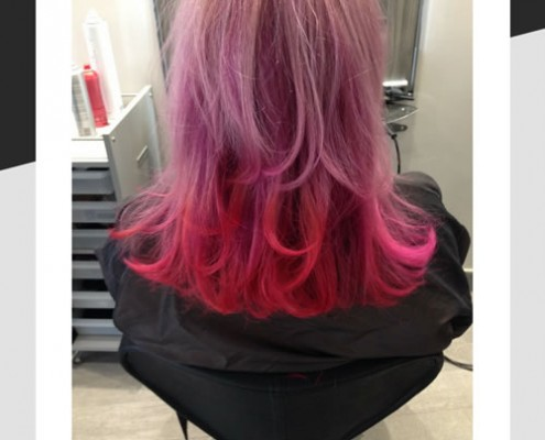 Balayage using red and violet