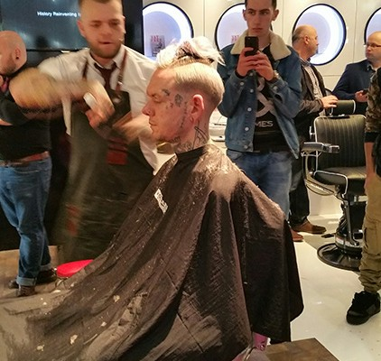 Barbering demonstration at the show