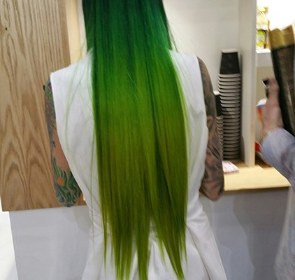 Bright green hair colour