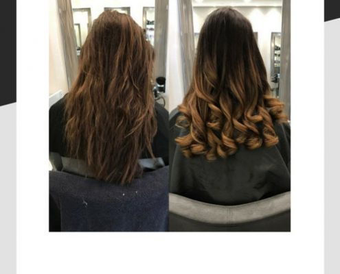 Hair before and after balayage