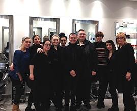 Salon staff with Jamie Farrar