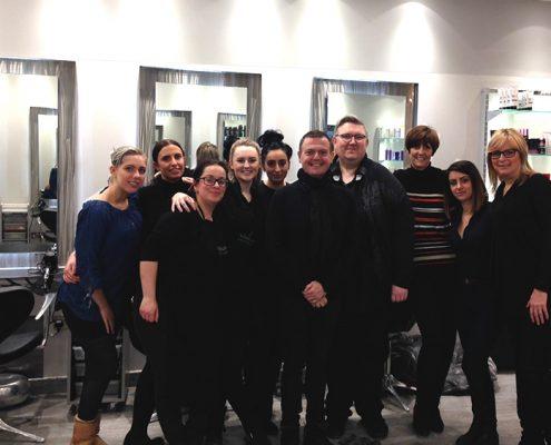 Jamie Farrar and salon staff