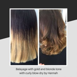 Balayage with gold and blonde tone with curly blow dry by Hannah