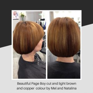 Beautiful Page Boy cut and light brown and copper colour by Mel and Natalina