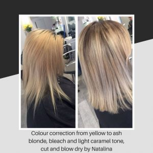 Colour correction from yellow to ash blonde, bleach and light caramel tone, cut and blow dry by Natalina
