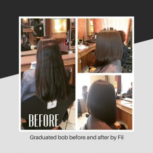 Graduated bob before and after by Fil