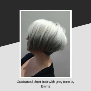 Graduated short bob with grey tone by Emma