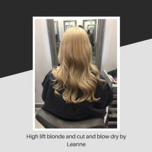 High lift blonde and cut and blow dry by Leanne