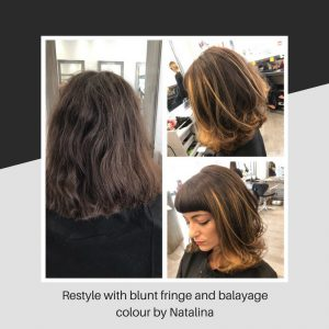 Restyle with blunt fringe and balayage colour by Natalina