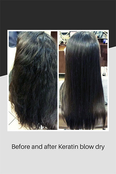 Keratin blow dry - before and after