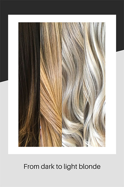 Stages of colouring from dark to light blonde