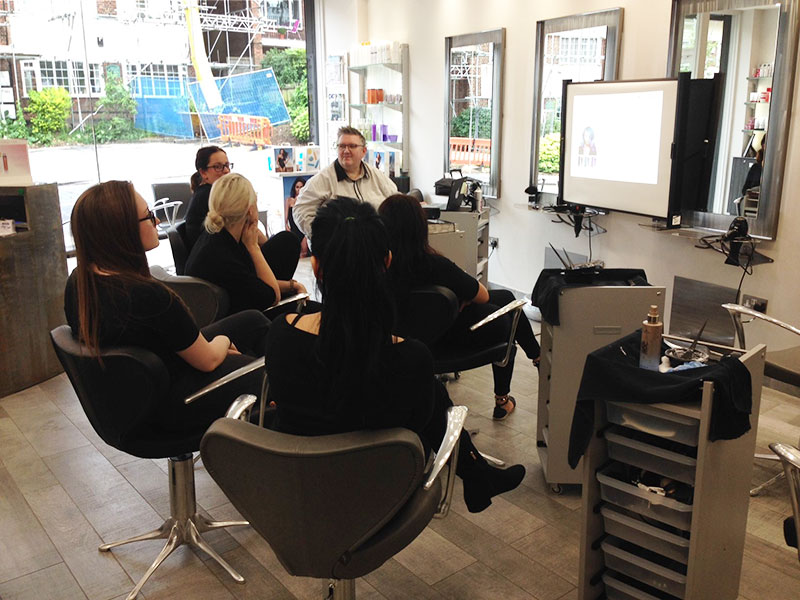 Training our salon staff with Jamie