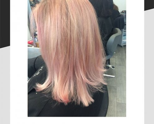Rose pink and gold balayage on blonde by Hannah