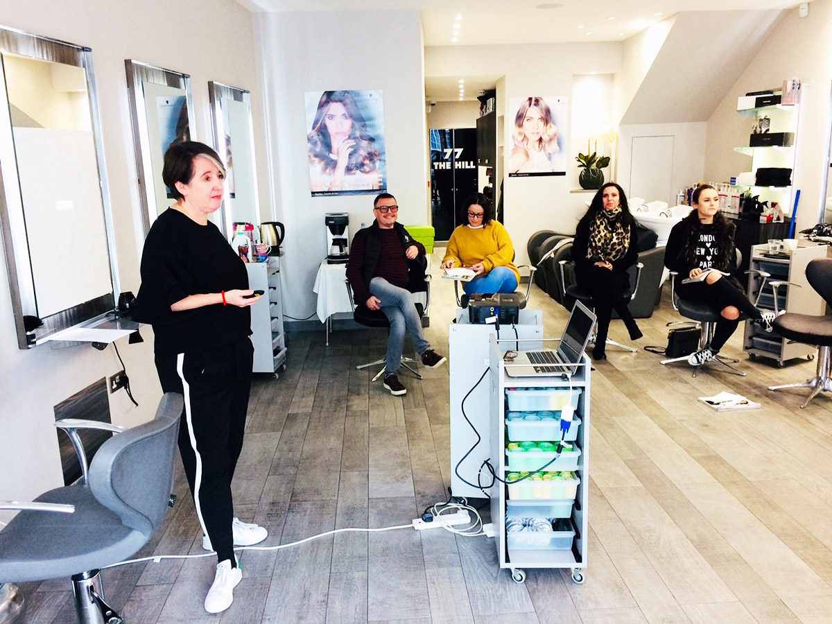 Debbie Gee training our salon team