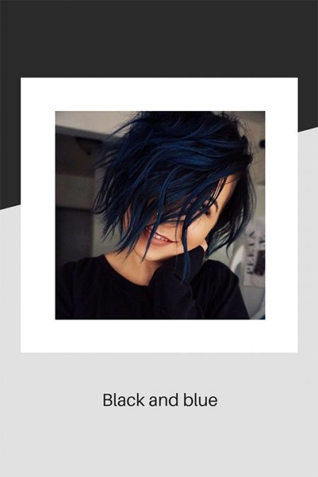 Black and blue hair colouring