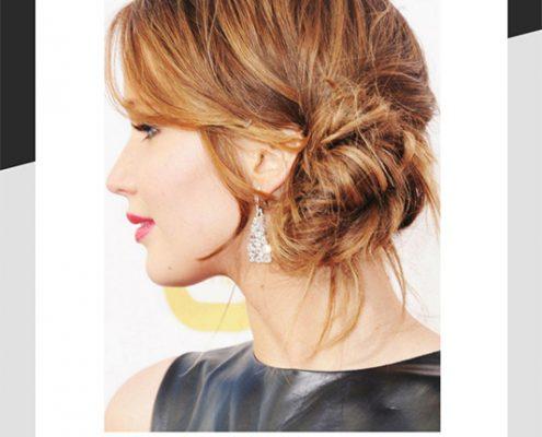 Jennifer Lawrence messy bun hair