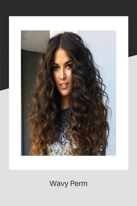 Wavy perm hair style