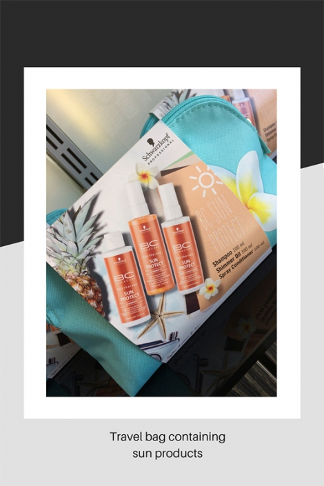 Travel bag containing sun products