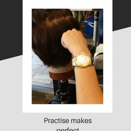 Leanne practising her barbering