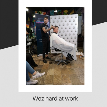 Wez displaying barbering skills