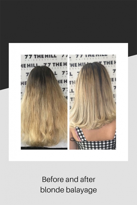 Before and after blonde balayage hair colouring