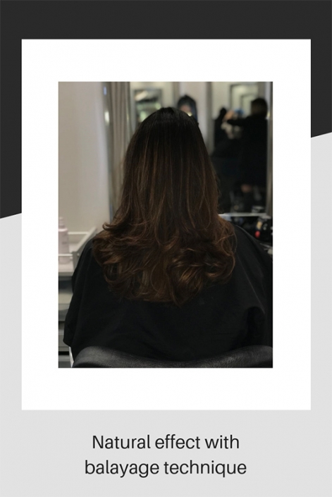 Natural dark hair effect with balayage technique