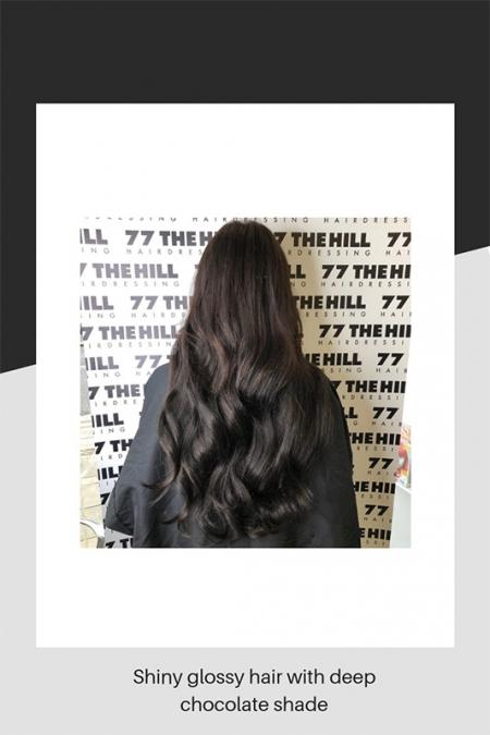 Shiny, glossy chocolate hair colouring
