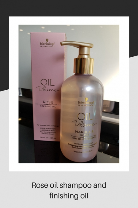 Rose oil shampoo and finishing oil hair products