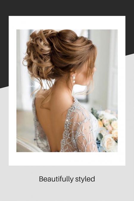 Beautifully styled wedding hair