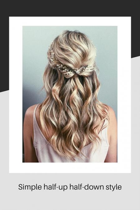 Wedding hair half-up half-down style