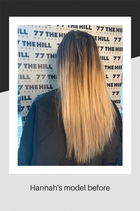 Hannah's hair model before