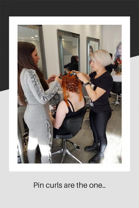 Staff preparing hair