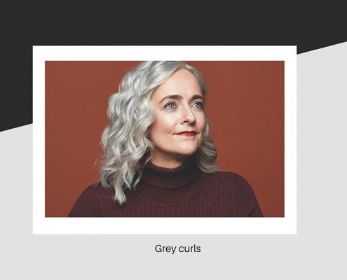 Grey curly hair