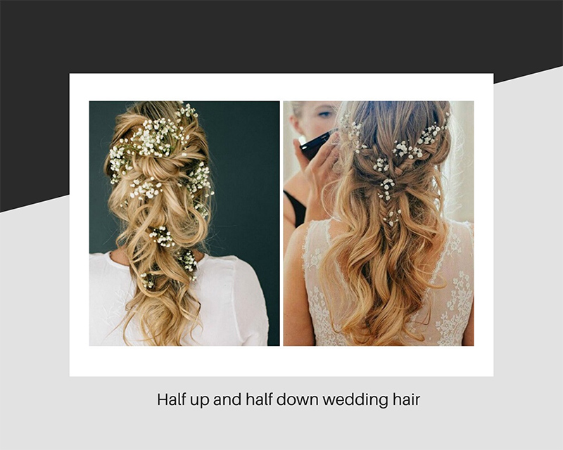 Half up and half down wedding hair