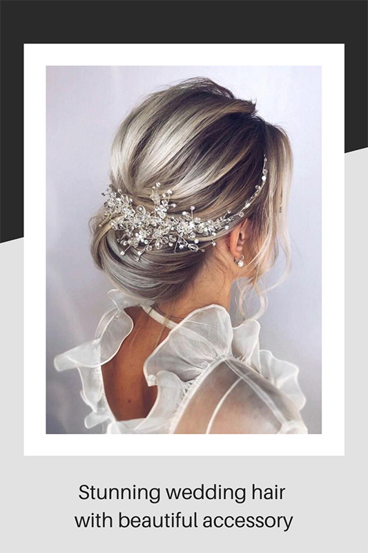 Stunning wedding hair with beautiful accessory