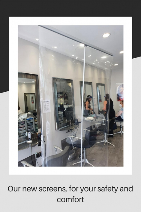 Safety screens at our salon