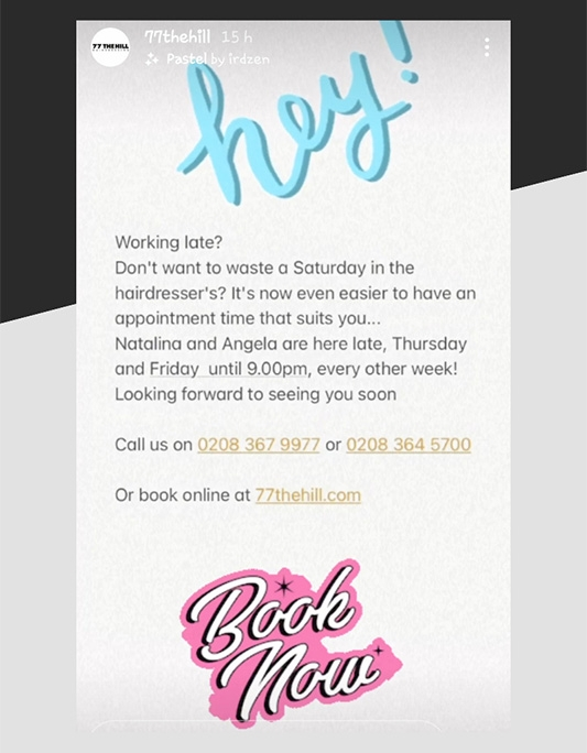 Later hair appointments information