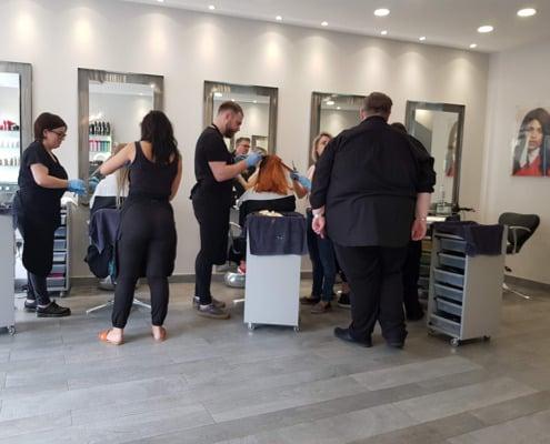 Jamie Farrar training our salon team