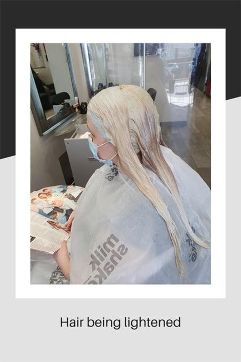 Hair being lightened