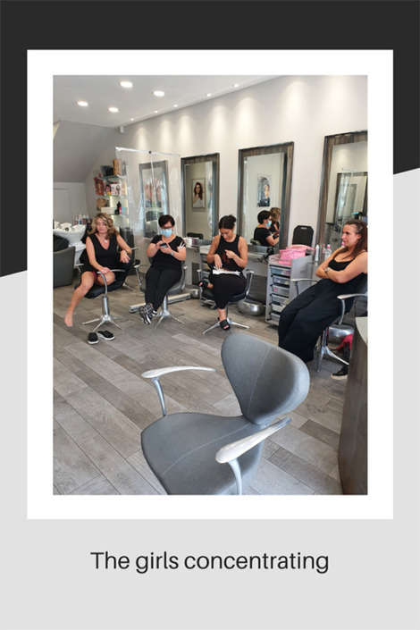 Salon girls concentrating